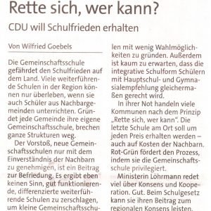 Kommentar aus der Westfalenpost vom 03.03.2011