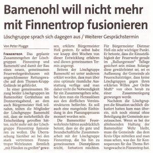 Löschgruppe Bamenohl will nicht mehr mit Finnentrop fusionieren