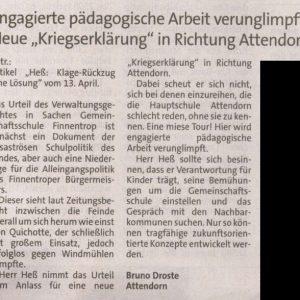 """Neue """"Kriegserklärung"""" in Richtung Attendorn"""