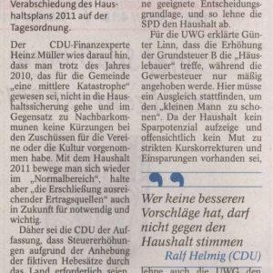 CDU-Mehrheit für Finnentroper Etat