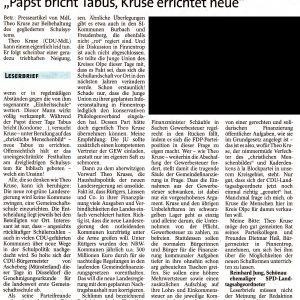 Leserbrief von Reinhard Jung vom 30.11.2010